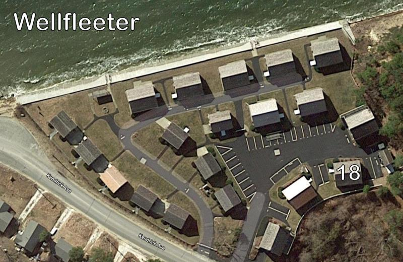 Aerial view of the Wellfleet with unit location
