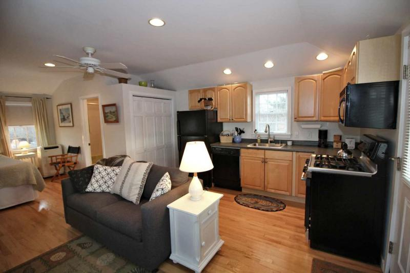 Studio apartment above garage has a full kitchen