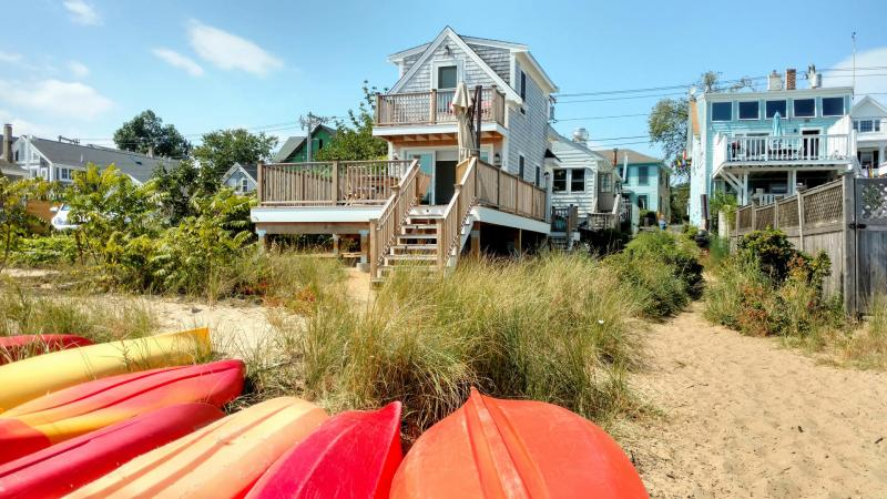 This beautiful East End home is steps from the water