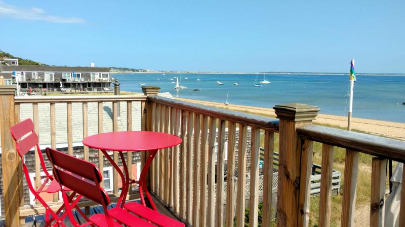 Enjoy the water view and sunsets from the balcony deck