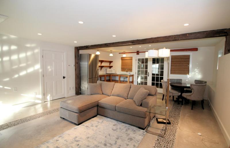 Guest house living area with queen sleep sofa