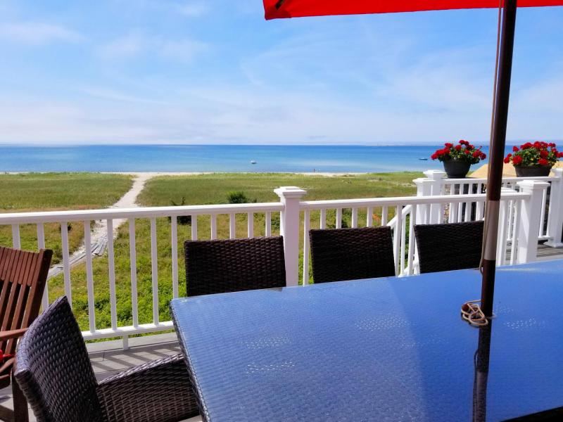 Enjoy dinner and bay views on the upper deck