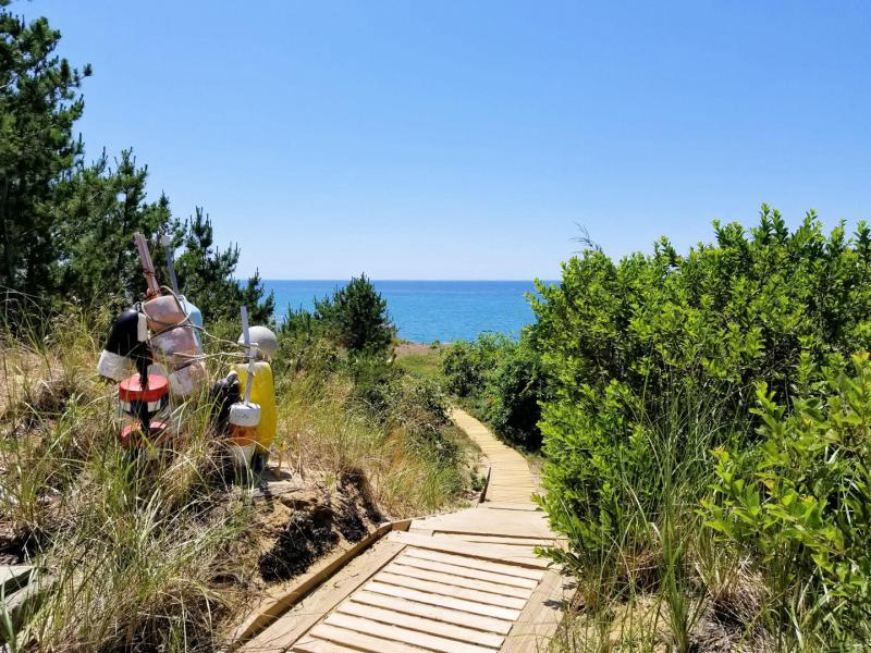 Take the path from the deck to the stairs to the beach