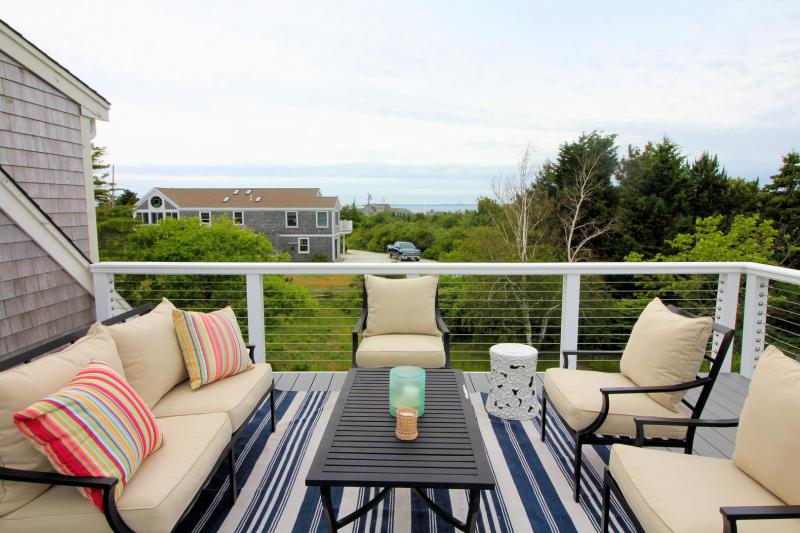 Upper deck with views of the bay and Provincetown