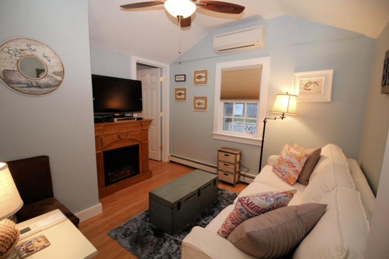 Cozy living room with fireplace and flat screen TV with cable