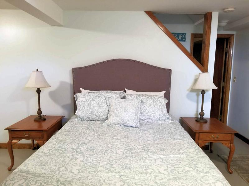 Lower level sleeping area with queen bed