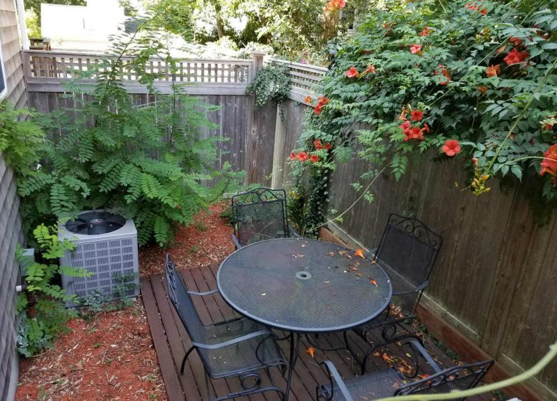 Private back patio with outdoor furniture