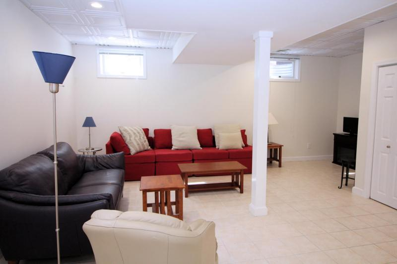 Finished lower level with comfortable seating and TV