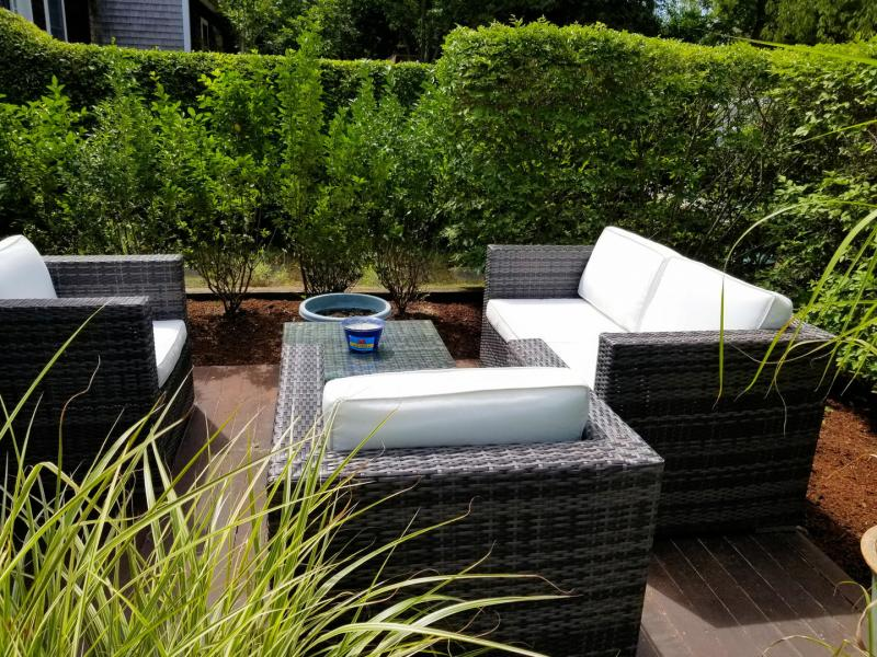 Relax and unwind with a glass of wine outside
