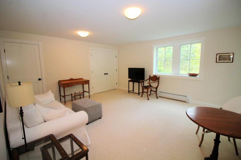 Lower level family room with television