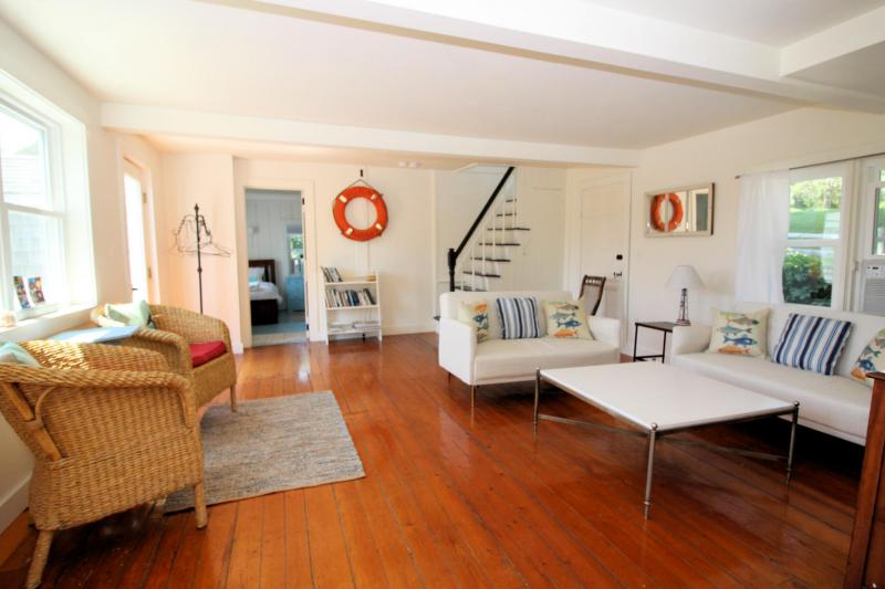 Comfortable living area with hardwood floors