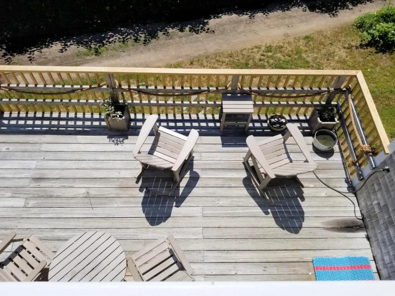 View of deck from master balcony above