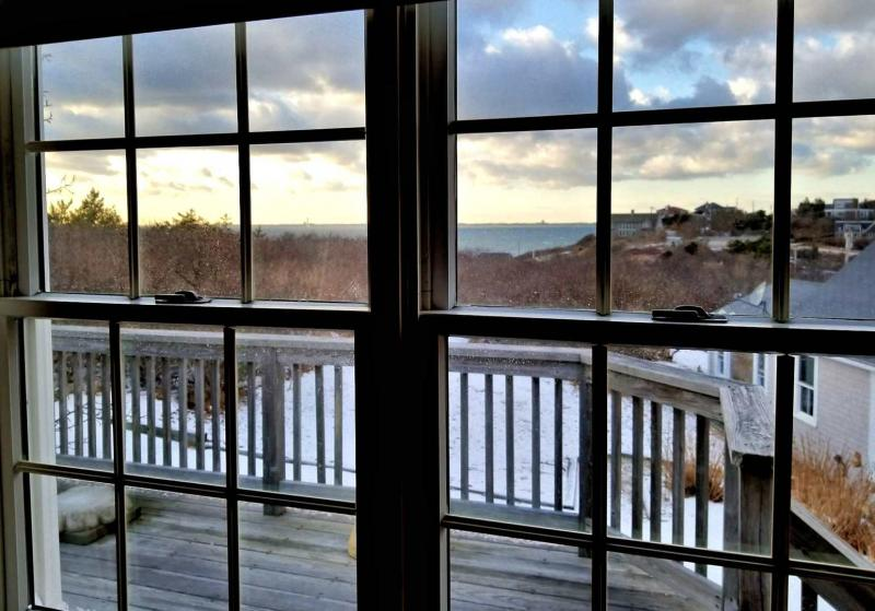 Views of Cape Cod Bay from sitting area and deck