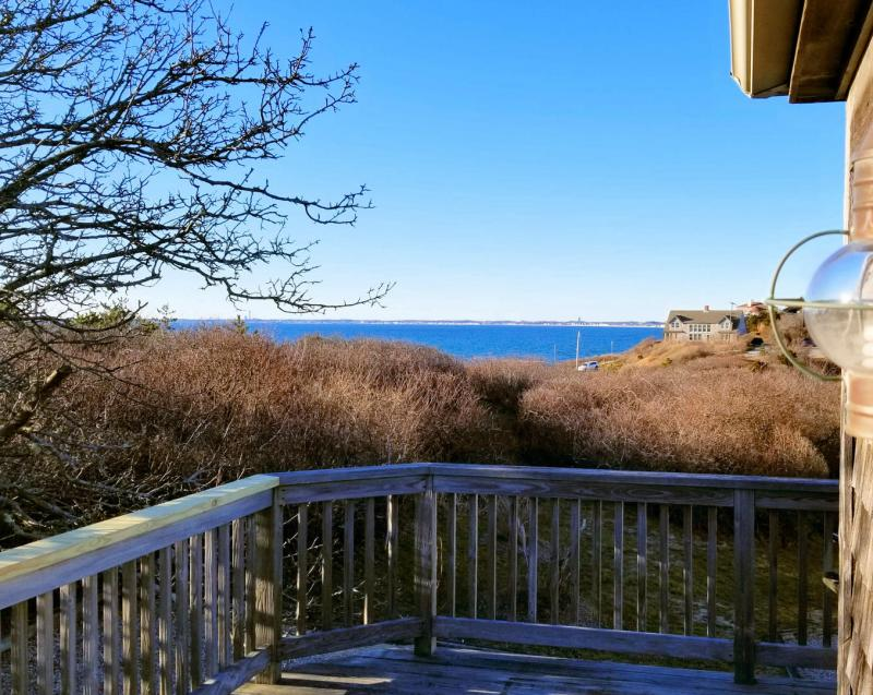 Views of Cape Cod Bay from the deck of this second floor studio