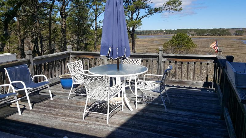 Tidal marsh views from main deck off kitchen