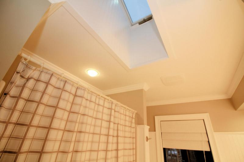 Skylight in first floor bathroom lets in plenty of light