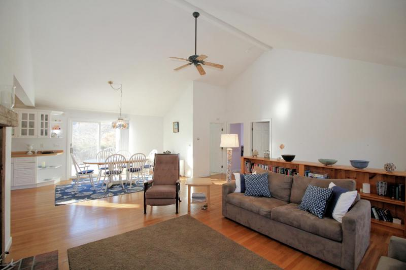 Comfortable seating and flat screen TV in living area