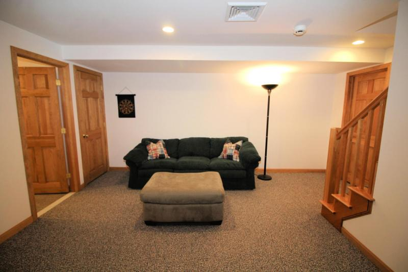 Lower level den with sofa and TV