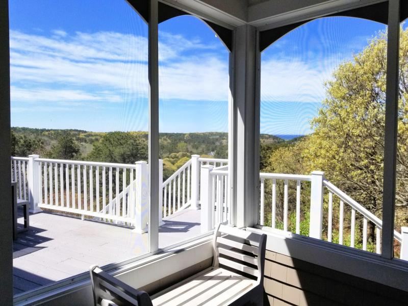Bay views from screened porch and upper deck beyond