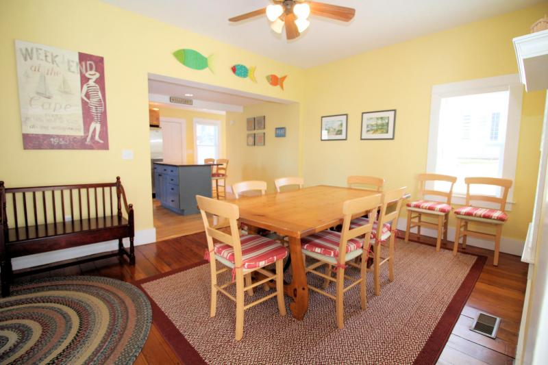 Open dining room with large table