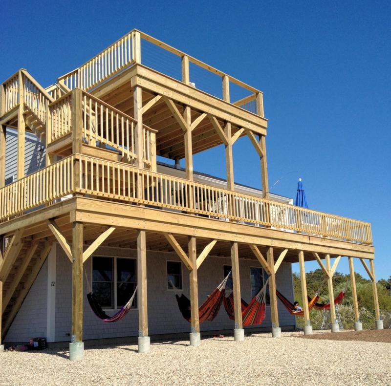 Two levels of decking with wonderful bay views
