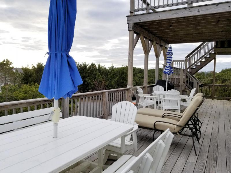 Enjoy the sunset and water views from the main deck or head up t