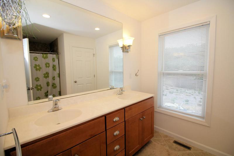 Master ensuite bathroom with double sink
