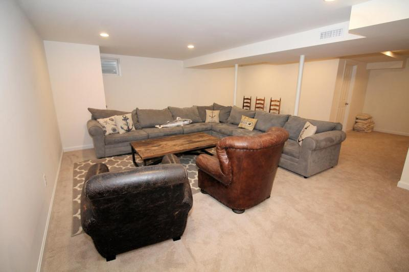 Lower level family room with comfortable seating