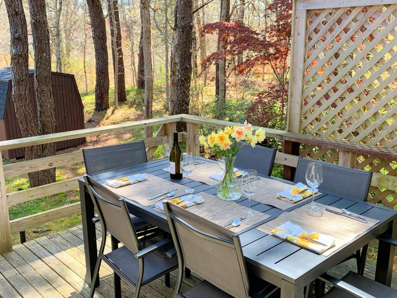Deck with outdoor furniture and charcoal grill