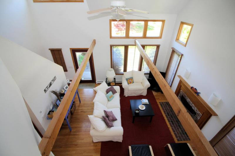 View of living room from open loft on second floor