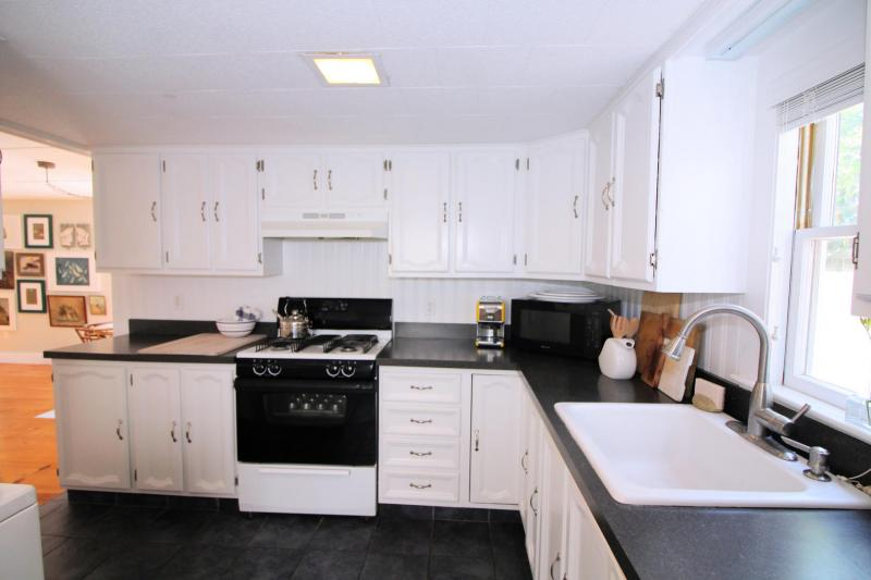 Kitchen is well equipped and has a gas range