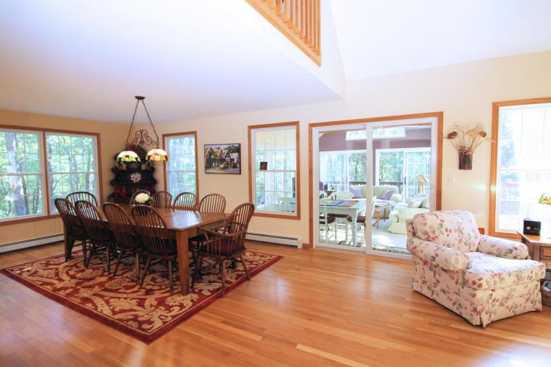French doors lead to bright and comfortable sun room
