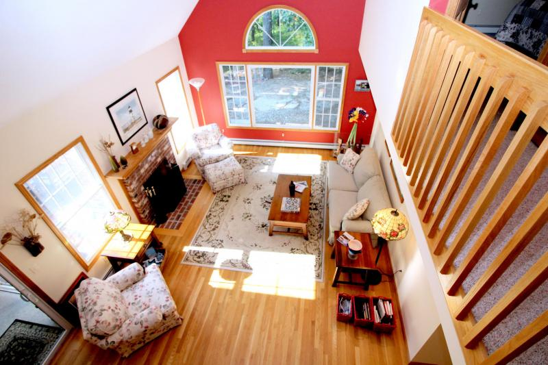 Looking down from the loft den