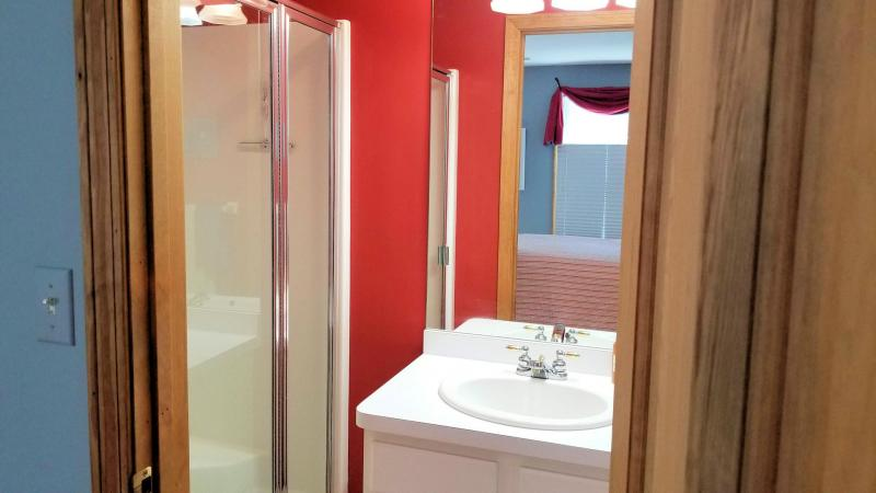 First floor master ensuite bathroom with shower