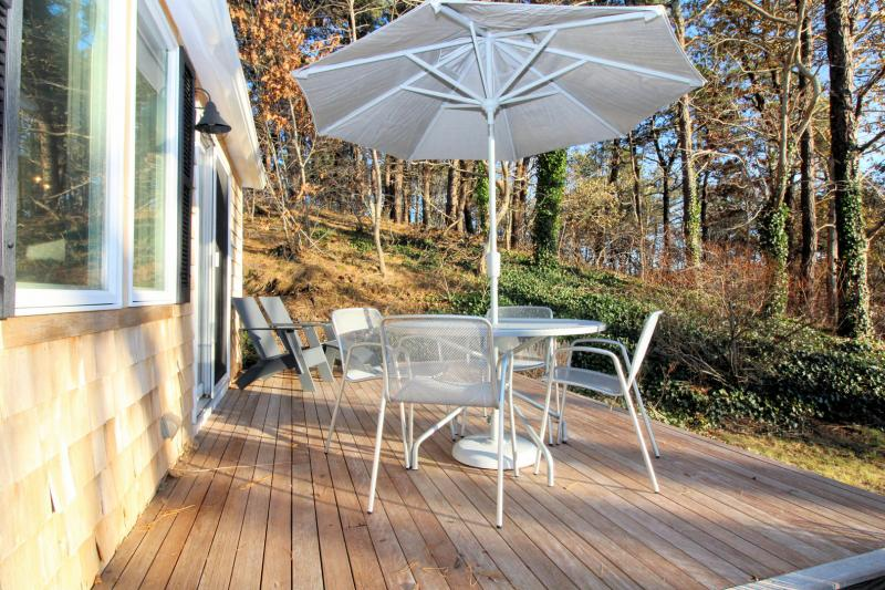 Deck with outdoor furniture and Pamet views