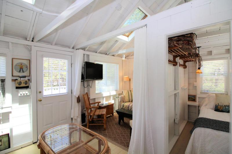 Vaulted ceiling and skylights make the cottage bright and open