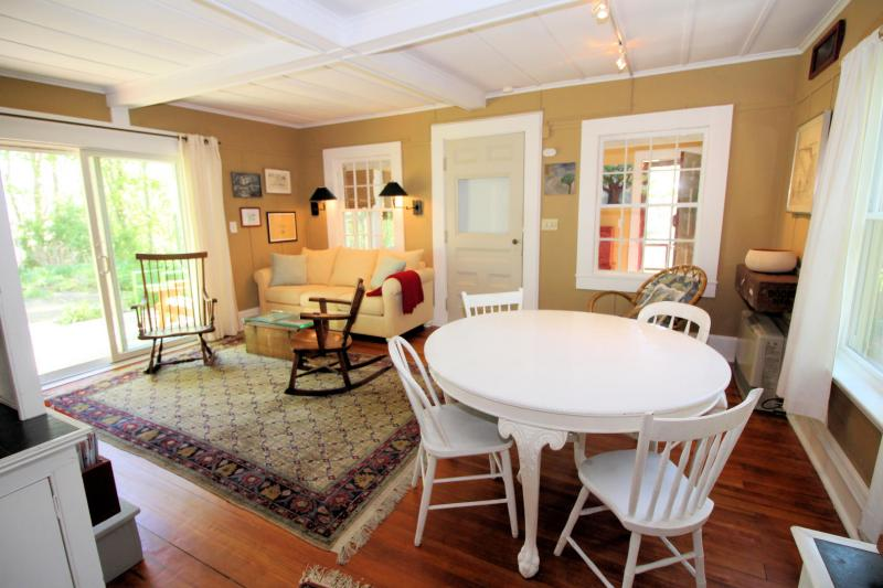 This quintessential cottage is open and bright