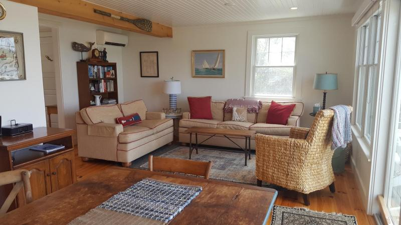 Living room with comfortable seating and views