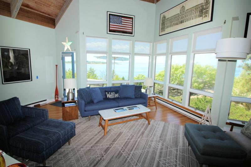 Living area has incredible views of the water