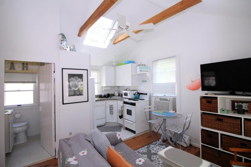 Cottage has a skylight and a ceiling fan in the main room