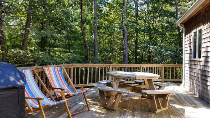 Deck with dining table and gas grill