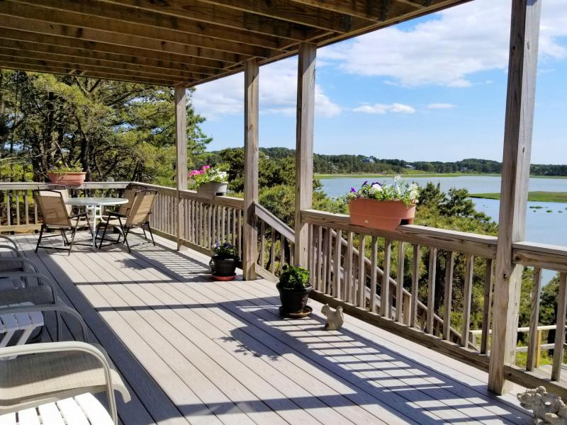 Main deck has outdoor furniture and awesome views