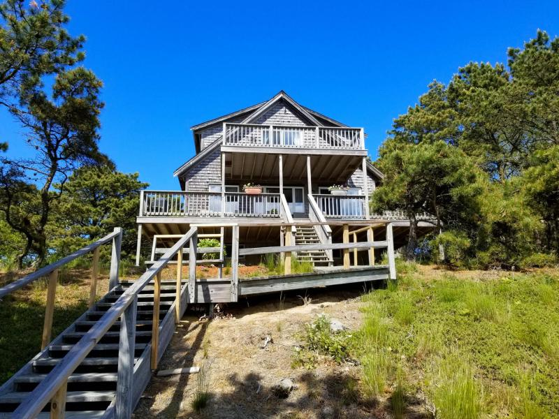 The house has a main deck and a balcony deck