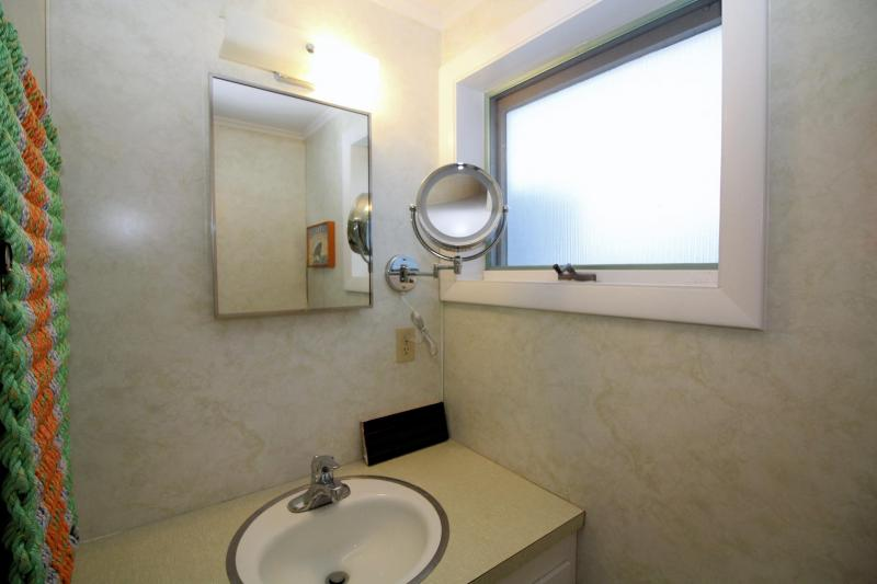 Lower level bathroom with shower stall