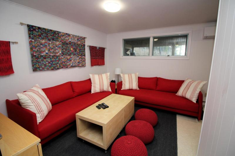 Lower level den with sofas and flat screen TV